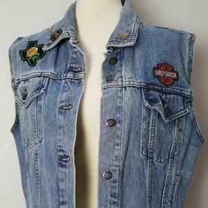 Harley Davidson Women's Denim Jean Vest Large